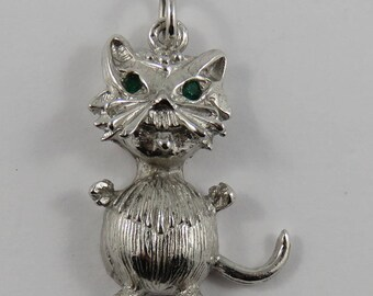Plump Cat With Green Stone Eyes Sterling Silver Vintage Charm For Bracelet