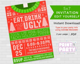 Printable Ugly Sweater Invitations, Tacky Sweater Invitations, Christmas Sweater Party Invitations, Edit Yourself, Instant Download