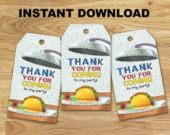 Dragons Love Tacos  Favor Tags // DIGITAL Only // INSTANT DOWNLOAD