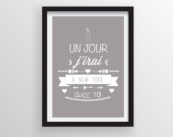 French love quotes, Typography print, Wall poster, Inspirational Print
