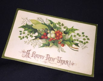 Old Victorian New Year's Calling Card