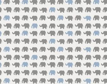 Gray and Blue Elephant Parade Organic Fabric - By The Yard - Boy / Modern / Fabric