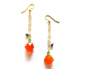 Long Gold Chain Carnelian Lapis Gemstone Earrings / Carnelian Gold Geometric Earring / 14k Gold Filled Earrings Blue Lapis Orange Carnelian