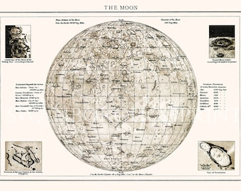Luna Map. Astronomy Map of the Moon. Moon Map. Astronomy Print Gift for Man. Luna Surface Map. Science of the Moon and the Heavenly Bodies