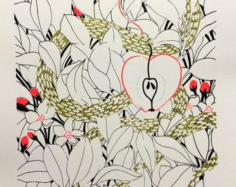 HANDMADE SCREEN PRINT  /// heart /// Made in France /// illustration