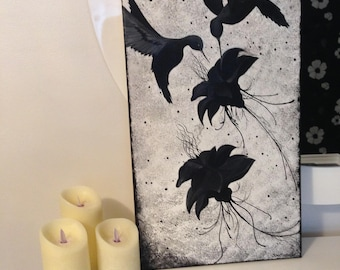 Black hummingbirds  original acrylic painting on canvas NOT A PRINT Canadian artist Free shipping to North America