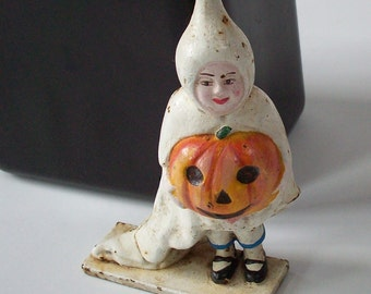 Cast Iron Bank / Halloween themed reproduction / Ghost figure with pumpkin