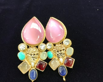 Pink with multi stone earrings