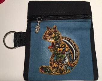 Chipmunk Coin/keychain pouch.  Free Shipping