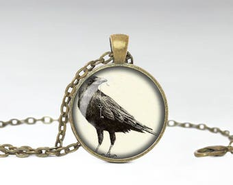Bird Skeleton Key Necklace, Gothic Creepy Crow Animal Pendant, Cool Animal Mysterious Jewelry [A24]
