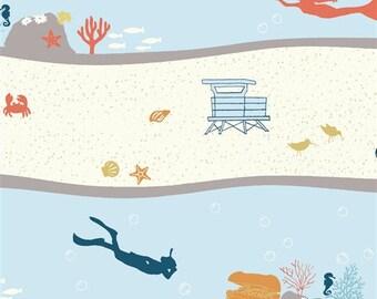 Organic Fabric, Beyond the Sea, Dive Stripe, Birch Fabrics, Mermaids, Divers, Crabs, Seahorses, Ocean, Lighthouses, Buried Treasure, Cotton