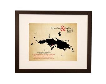 Map Art 2nd Anniversary Gift - cotton anniversary -wedding map - U.S. Virgin Islands