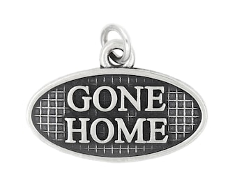 Sterling Silver Oxidized Gone Home Memorial Charm (with Options)