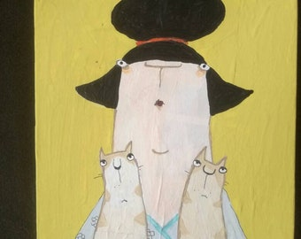 Woman with cats, cat lady, Small portrait,