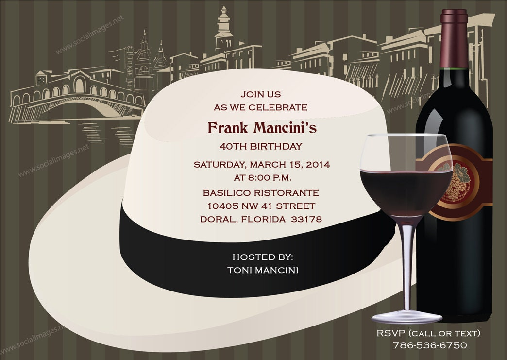 Italian Themed-Fedora Party Invitation Pricing includes