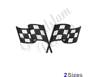 Crossed Racing Flags - Machine Embroidery Design