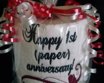 First anniversary embroidered toilet paper - gag gift - traditional first anniversary gift - 1st anniversary gift