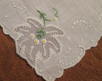 "Vintage Wedding Hanky/ Handkerchief - Cutwork/ Embroidery - ""Something Old"""