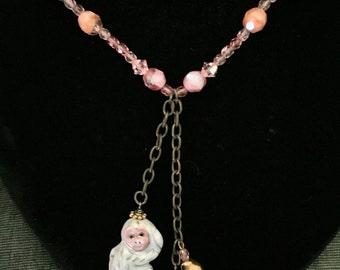 Upcycled Vintage Jewelry- Porcelain Monkey Necklace