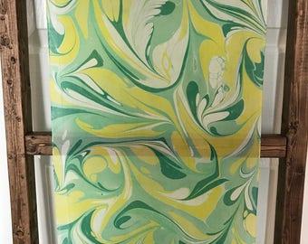 Handmade Water- marbled Silk Scarf - Light and dark Green / Yellow / White