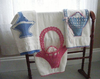 Vintage Towel Instant Collection CROCHETED BASKET Romantic Terry Bath Towels and Washcloths Grouping