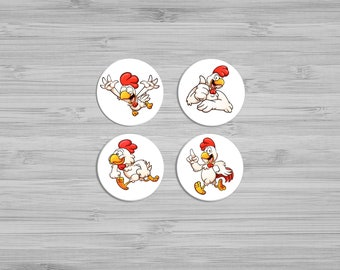 Magnets - Fridge Magnets - Kitchen Decor - Refrigerator Magnets - 1 Inch  Magnets - Unique Gift - Chicken Button Magnets - Cute Magnets