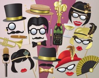 Ready-Made Great Gatsby Photo Booth props, Roaring 20s party Photobooth. 1920 Gatsby props, Hats and Wigs, 29 Ready Made Party Props - 0101
