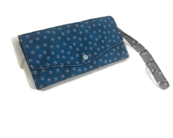 NCW, Necessary Clutch Wallet, Handmade ladies wallet with wrist strap, women's wallet, purse, teal and grey.