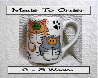 Goofy Cats Mug Original Handmade To Order With Paws On Back by Grace M. Smith