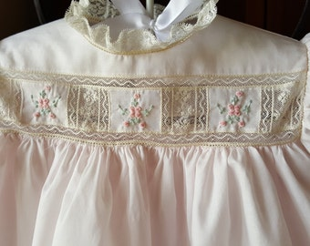 Three Sectioned Hand Embroidered Yoke Baby Dress with French Maline Laces