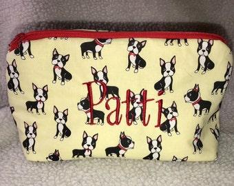 Boston terrier make up bag - zipper bag - cosmetic bag