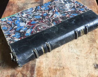 """Rare French vintage book with a black leather cover""""Jeunes ménages"""" by Jacques Debu Bridel 1935"""