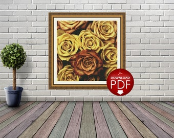 3. Golden Roses Counted Cross Stitch Pattern / Large Cross Stitch Chart / Poster Cross Stitch Flower / Floral Cross Stitch Design / PDF File