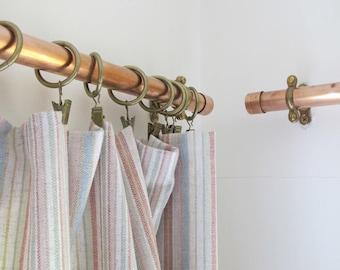 Cuivre rideau d'appareils Rideau tringle rideau en métal industriel ferroviaire cuivre décor à la maison