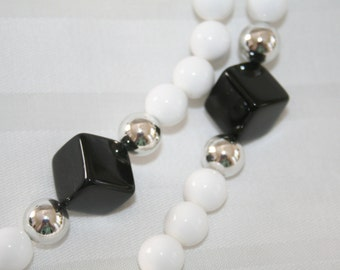 Funky Black and White Vintage Necklace