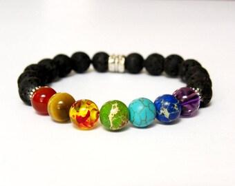 7 Charkra Healing Bracelet | Lava Bead Diffuser Lotus Charm Bracelet | Yoga Jewelry | Gift for Her