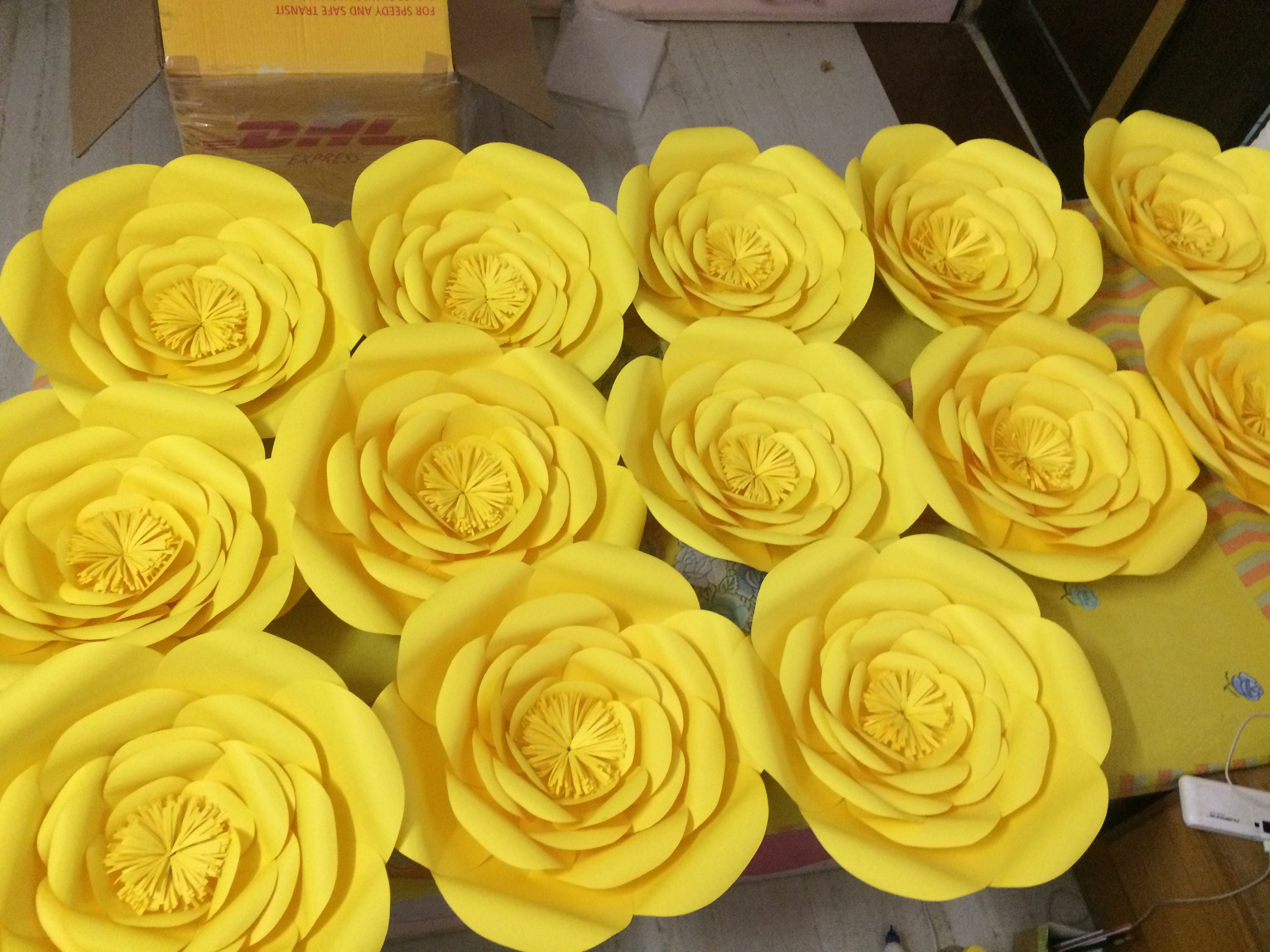 Large paper flowers Yellow paper flowers wedding decor