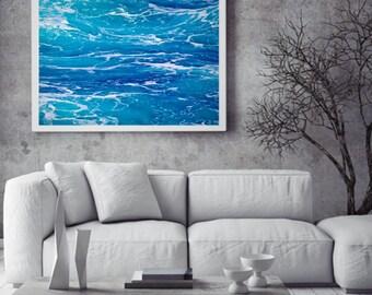 Ocean 7 Abstract Water Minimalist Australia Photograph Photo Wall Art Print Mindfulness Blue Aqua White