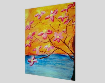 "Abstract Painting PRINT on Canvas, Fine Print, or Poster - ""Hello Spring"""