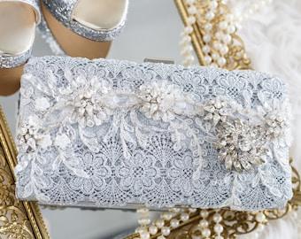 wedding clutch, beaded evening bag, silver rhinestone clutch, bridal clutch, lace purse, bridal purse, gift to bride, vintage purse