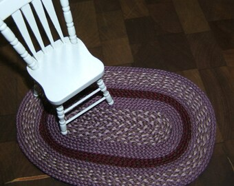 Medium Purple & Claret Dollhouse Miniature Hand Braided Rug # 25