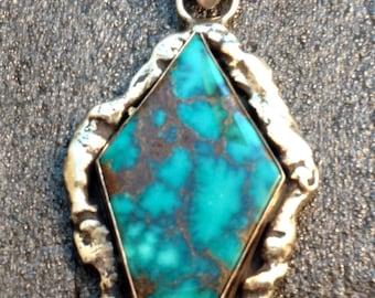 Turquoise Pendant/ Kingman Arizona/ custom made/ sterling