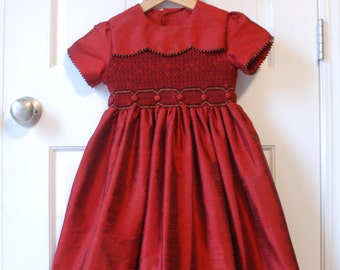 "Red Dupioni Christmas Smocked Dress ""Christmas Bells"""