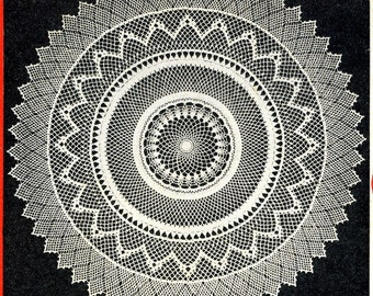 Vintage Crochet PATTERN in PDF File Armenian Lace Doily 5805 size 28 inches in diameter Instant Download