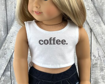 American Made Doll Clothes | Coffee CROP TANK TOP for 18 inch doll