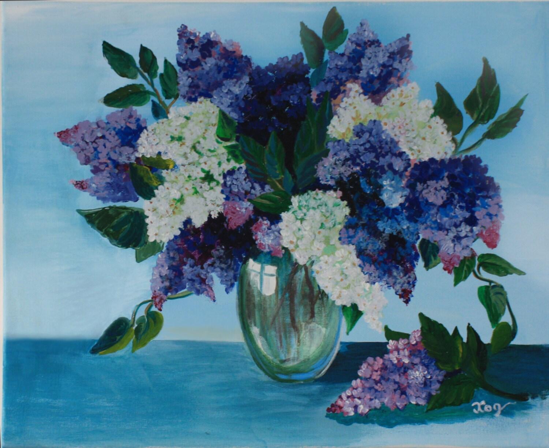Acrylique peinture toile art fleur lilas mur maison - Dessin de lilas ...