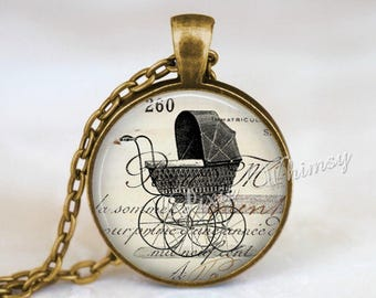 BABY CARRIAGE Pendant Necklace or Keychain Vintage Antique Baby Buggy Pram Perambulator Stroller Pregnancy Gift, Baby Shower New Mother Gift