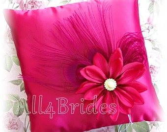 Peacock Wedding Fuchsia Pink Ring Bearer Pillow - Pink Peacock Feathers Ring Pillow