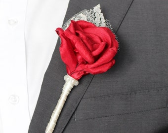 Red Wedding Boutonniere, Red Rose Wedding Boutonniere, Fabric and Lace Grooms and Groomsmen Boutonnieres