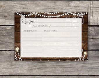BBQ Bridal Shower Recipe Cards - Instant Download - 4x6 Recipe Cards - Rustic Bridal Shower Favors - I Do BBQ - Bridal-106